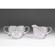 Set of American Brilliant Cut Glass Cream & Sugar
