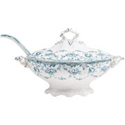 English Transferware Sauce Tureen With Ladle And Cover