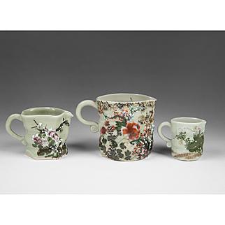 Set of Three Wucai Style Celadon Porcelain Jugs