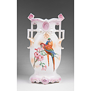 Victorian Porcelain Continental Vase Hand Painted With Parrots