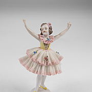 Pair of Dresden Ballerina Lace Figurines