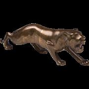 Vintage Japanese Bronze Stalking Lioness
