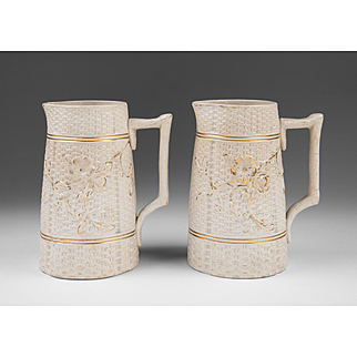 Pair of Matching English Salt Glaze Pitchers