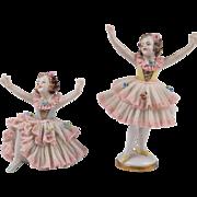 Pair of Dresden Ballerina Lace Figurines