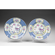 Pair of William A. Adderly & Co. Cuckoo Pattern Dinner Plates