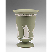 Green Jasperware Wedgwood Vase With Neoclassical Scene