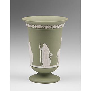 Green Jasperware Wedgwood Vase With Neoclassical Scene