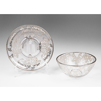 Cambridge Glass Silver Deposit Dip Bowl With Saucer
