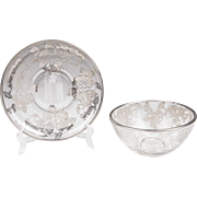 Cambridge Glass Silver Deposit Dip Bowl With Saucer