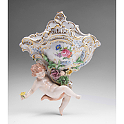 Carl Thieme Dresden Porcelain Wall Pocket With Putti