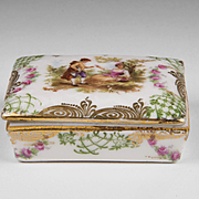 French Enamel Hand Painted Porcelain Box With Lid