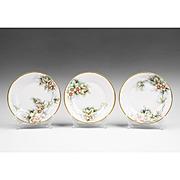 Set of Three Hand Painted Carl Tielsch Bavarian Dessert Plates