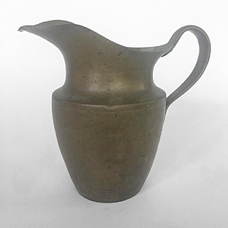 19th C. Heavy Brass Helmet Shaped Water Pitcher