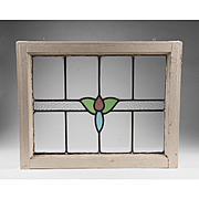 Art Deco Stained Glass Window In White Wooden Frame