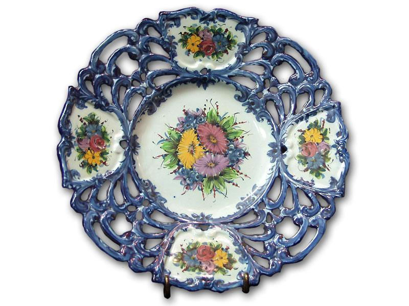 Hand Painted Portuguese Reticulated Faience Charger