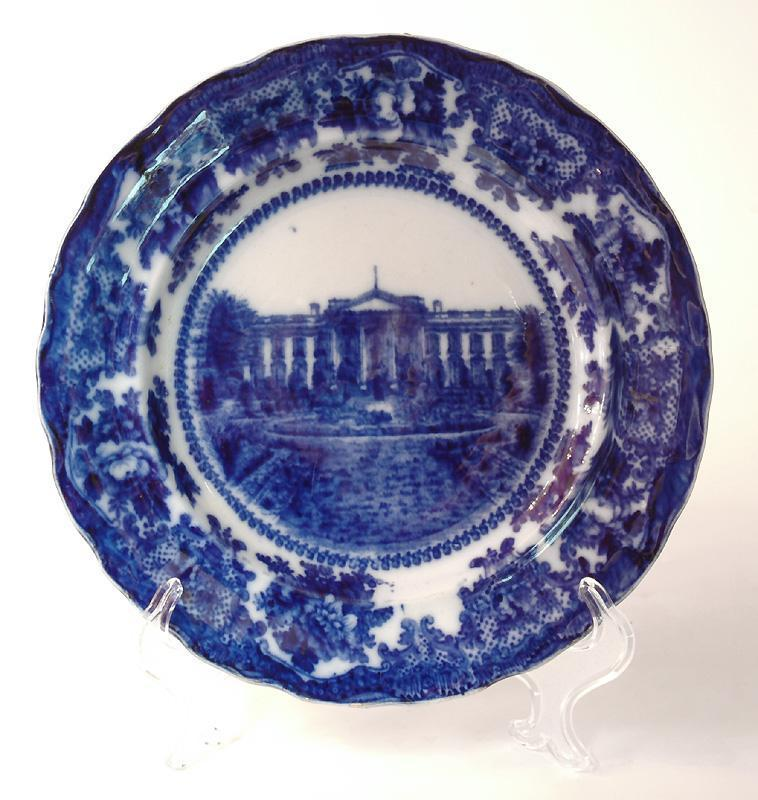 W. Adams & Co. Flow Blue & White Historical Plate of The White House