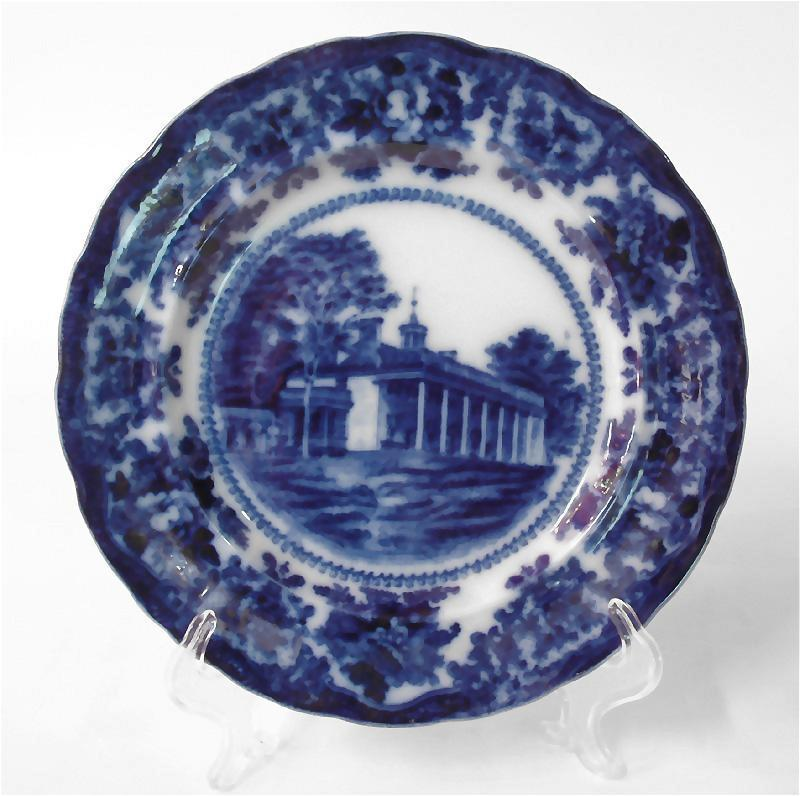 W. Adams & Co. Flow Blue & White Historical Plate Mt. Vernon