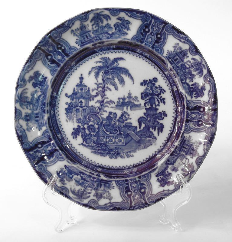 W. Adams & Co. Flow Blue Oriental Plate