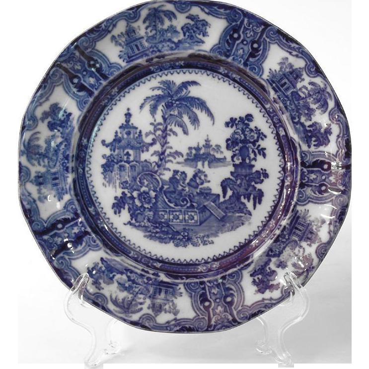 W adams co flow blue oriental plate from designcorner