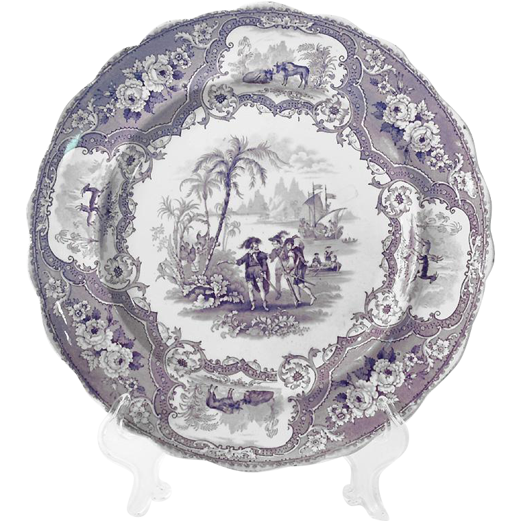 Adams English Blue & White Historical Transferware Plate; Arrival of Columbus