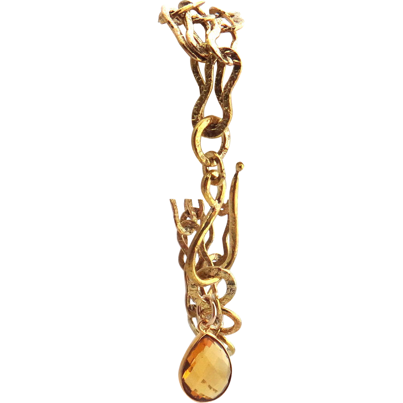 Designs by Ali Triple Strand Brass Chain with Citrine Pendant Bracelet