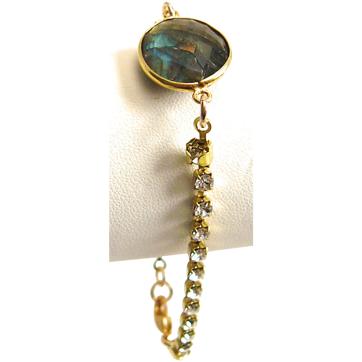 Designs by Ali Labradorite Connector with Czech Crystal Brass Rhinestone Chain Bracelet