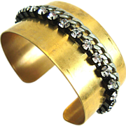Designs by Ali Raw Brass Cuff with Crystal Rhinestone and Silver Plated Gourmet Bracelet