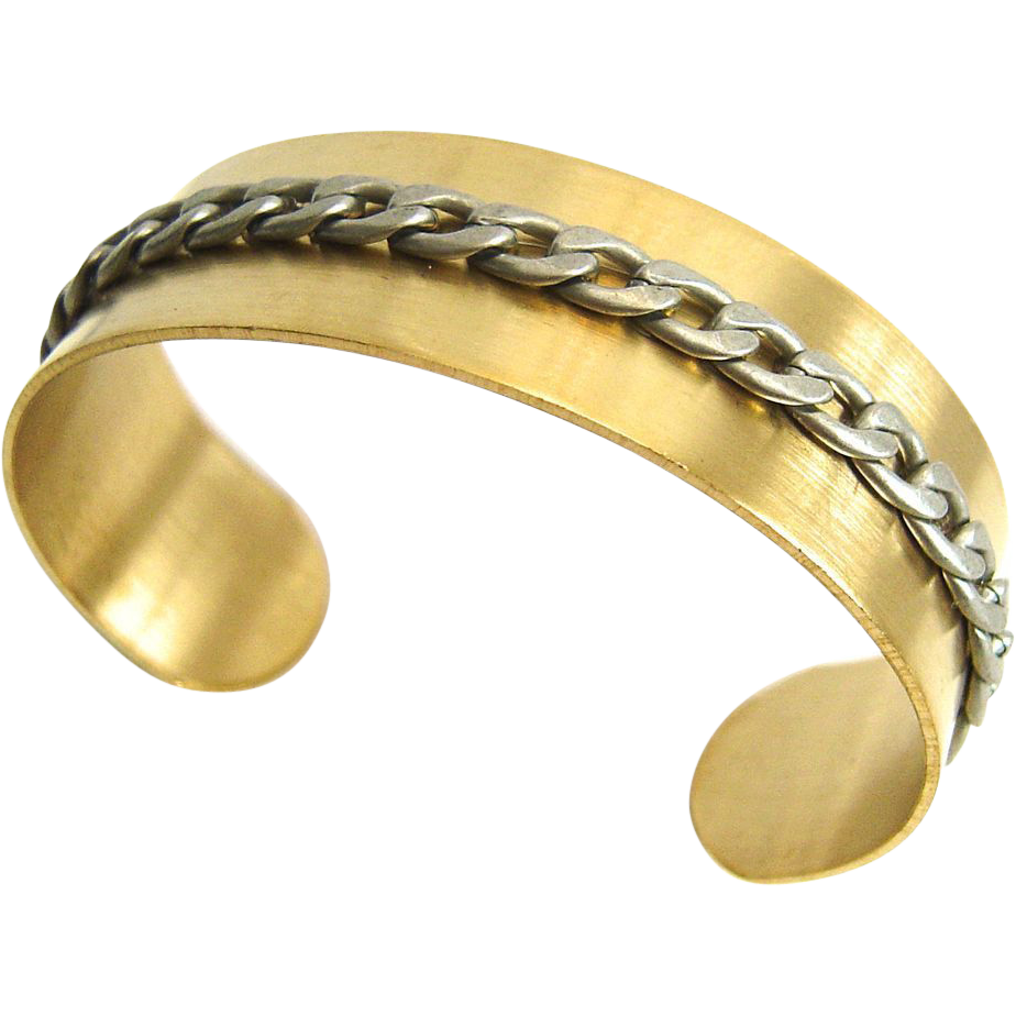 Designs by Ali Brass Cuff with Antique Silver Plated Chain