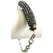 Designs by Ali Matte Silver Plated Etched Oblong Chain with Pave Tube and Gunmetal Swarovski Bracelet