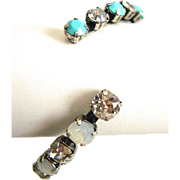 Designs by Ali Antique Silver Plated with Silver Shade, White Opal and Turquoise Swarovski Bangle