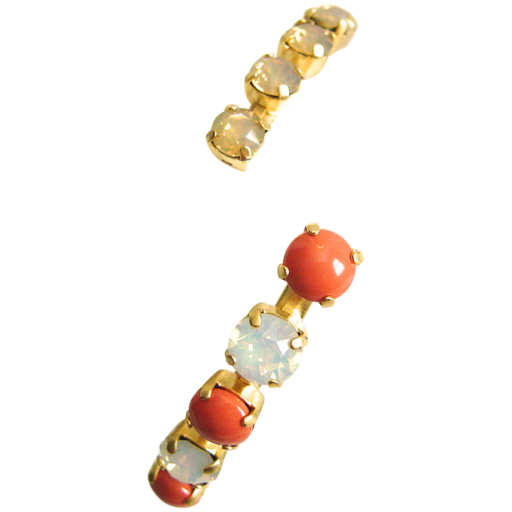 SB378C Designs by Ali Matte Gold with Coral Pearl, White Opal and Sand Opal Swarovski Bangle