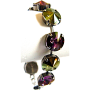 Designs by Ali Antiqued Silver Plated Brass with Iridescent Green and Lilac Shadow Swarovski Bracelet
