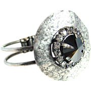 Designs by Ali Antique Silver Plated Brass with Jet Hematite Swarovski and Crystal Rhinestone Bracelet