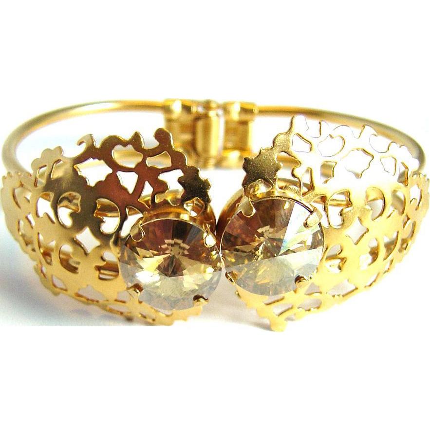 Designs by Ali Matte Gold Plated Brass with Golden Shadow Swarovski Bracelet