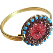 Designs by Ali Solid Brass w/ Czech Glass and Turquoise Rhinestone Bracelet