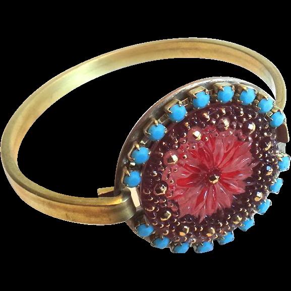 Designs by Ali Solid Brass w/ Czech Glass and Turquoise Rhinestone Bracelet