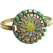 Designs by Ali Solid Brass with Intaglio Design Czech Glass and Opaque Green Czech Chain Bracelet