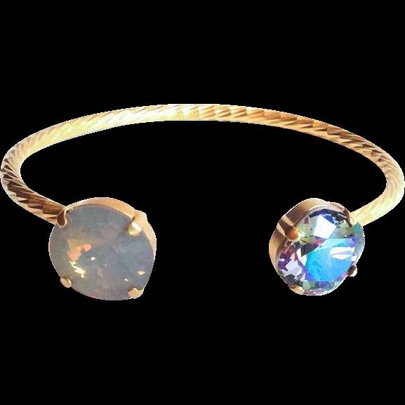Designs by Ali Matte Gold Plated with Paradise Shine & Light Grey Opal Swarovski Bracelet