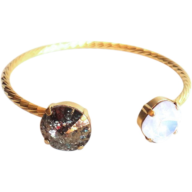 Designs by Ali Matte Gold Plated Brass with Rose Water Opal and Gold Patina Swarovski Bracelet