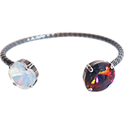 Designs by Ali Silver Plated Brass with White Opal Swarovski and Volcano Swarovski Bracelet