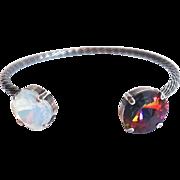 Designs by Ali Silver Plated Brass with White Opal Swarovski and Volcano Swarovski Bracelet