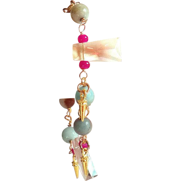 Designs by Ali Gold Filled with Light Champagne Quartz, Hot Pink Glass and Amazonite Faceted Bracelet