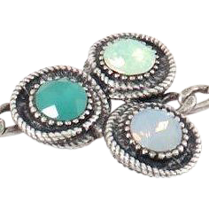 Designs by Ali Antique Silver Plated Chain with Chrysolite Opal Swarovski, Light Grey Opal Glass and Opaque Dark Green Glass Bracelet