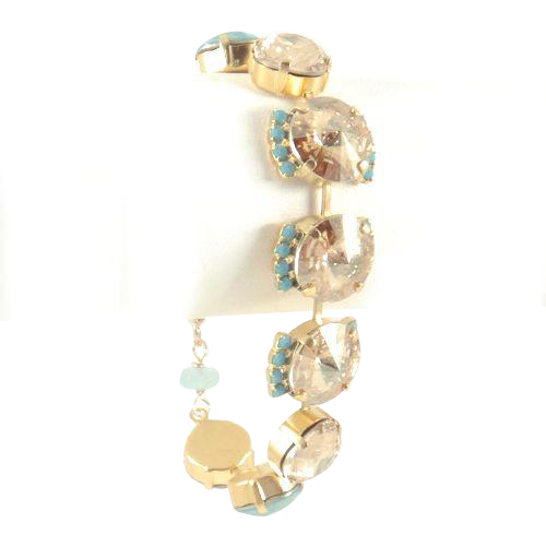 Designs by Ali Gold Plated Chain w/ Golden Shadow, Pacific Opal and Turquoise Swarovski Bracelet