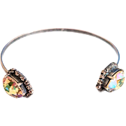 Designs by Ali Antique Silver Plated with Crystal and Luminous Green Swarovski Bangle