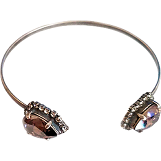 Designs by Ali Antiqued Silver Plated with Crystal and Vintage Rose Satin Swarovski Bangle