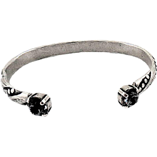 Designs by Ali Antiqued Silver Plated and Silver Night Swarovski Bangle