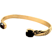 Designs by Ali Matte Gold Plated and Burgundy Satin Swarovski Bangle