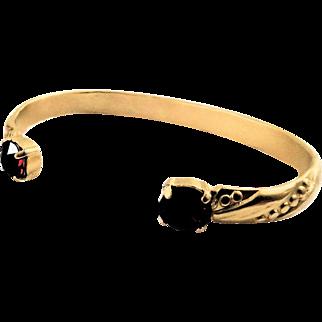 Designs by Ali Matte Gold Plated and Burgundy Satin Swarovski Bangle