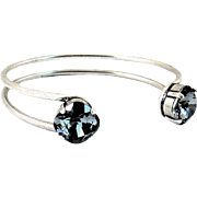 Designs by Ali Antiqued Silver Plated with Silver Night Swarovski Bangle